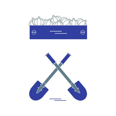 Mignon illustration vectorielle de la récolte: deux pelles et une boîte d'ail. Conception pour la bannière, l'affiche ou l'impression. Banque d'images - 84357410