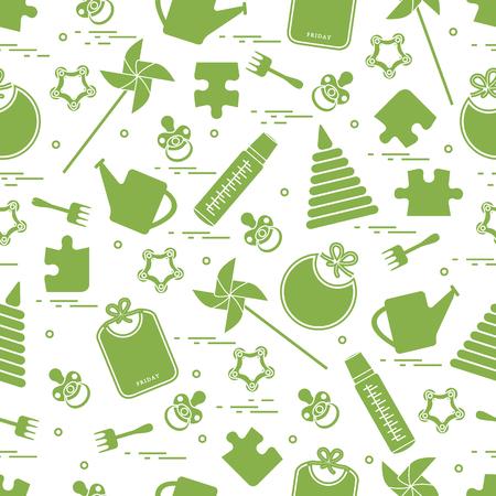 Modelo inconsútil lindo con las mercancías y los juguetes de los niños de la variedad: baberos, pinwheel, biberones, maniquí, pirámide y otro. Diseño para el cartel o la impresión. Foto de archivo - 84355465