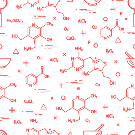 Seamless pattern with scientific, education elements: molecular structure, formula, pestle and other. Design for banner, poster or print.