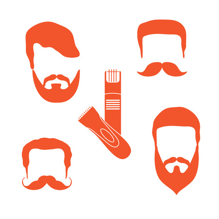 Cute vector illustration of men hairstyles, beards, mustaches, trimmers. Male haircuts. Barbershop symbol.