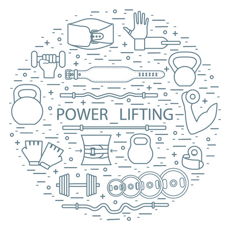 heavy: Weightlifting training objects arranged in a circle. Healthy lifestyle and physical activity.
