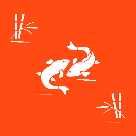Stylized icon of two carp koi  and bamboo. Travel and leisure. Design for banner, poster or print.