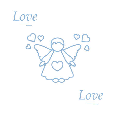 romantic date: Cute vector illustration: angel and hearts. Love symbol. Design for banner, flyer, poster or print. Illustration