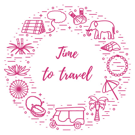 Vacation and travel elements arranged in a circle. Elephant, bamboo, shell, palm tree, tuk-tuk, durian, pearl necklace and other.