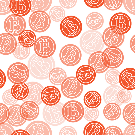 Seamless pattern with bitcoins. Finance and virtual currency. Design for banner, poster or print. Illustration