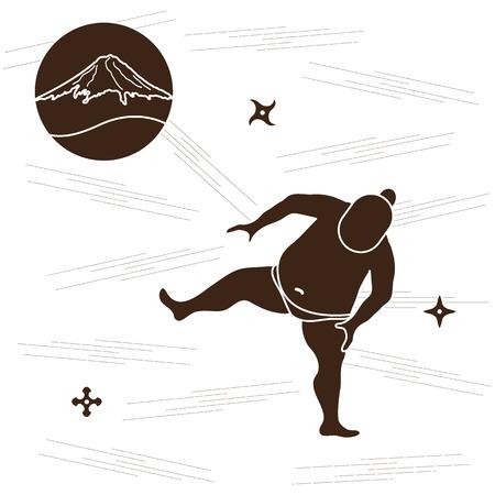 heavy: Vector illustration of sumo wrestler, shurikens and mountain Fuji. Japan theme. Illustration