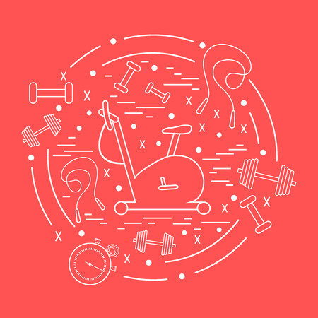 weight machine: Vector illustration of different kinds of sports equipment arranged in a circle. Including icons of skipping rope, stopwatch, exercise bike, dumbbells. Isolated elements  on a colored background.