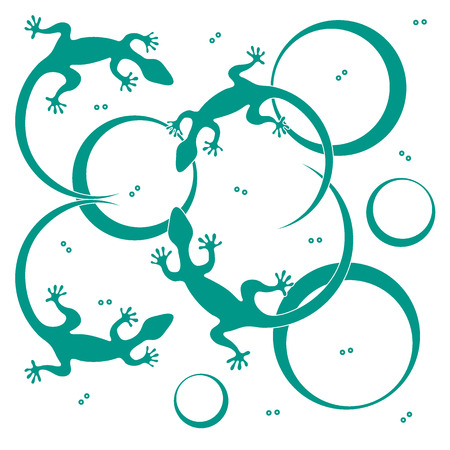 Cute vector illustration of lizards and circles. Design for poster or print.