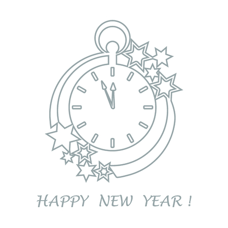 Clock with arrows showing a few minutes until midnight and stars. Design for postcard, banner, poster or print.