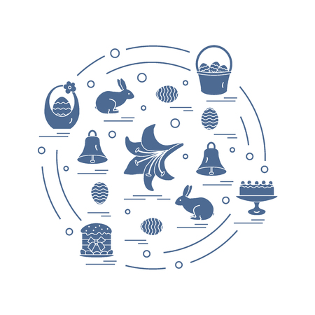 bun: Cute vector illustration with different symbols for Easter arranged in a circle. Including icons of simnel cake, lily, baskets, eggs and other. Design for banner, poster or print.