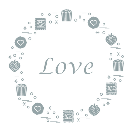 romantic date: Cute vector illustration with different romantic sweets arranged in a circle. Design for banner, flyer, poster or print. Love concept.