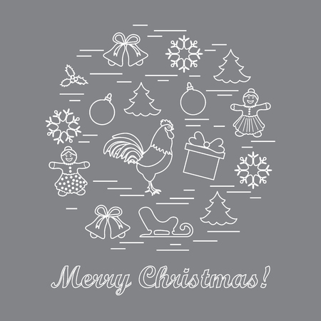 coniferous: Vector illustration of different new year and christmas symbols arranged in a circle. Winter elements made in line style. Illustration