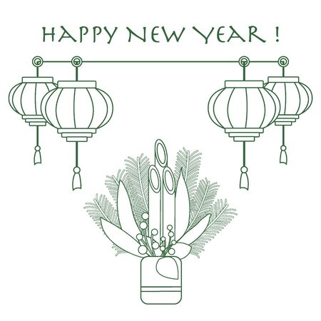lucky bamboo: East new year home decorations kadomatsu and chinese lanterns. Design for banner, poster or print.