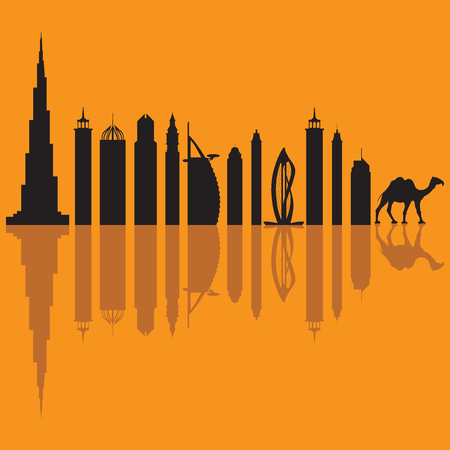 Vector illustration of United Arab Emirates skyscrapers silhouette and camel. Dubai buildings and symbols. Design for banner, poster or print.