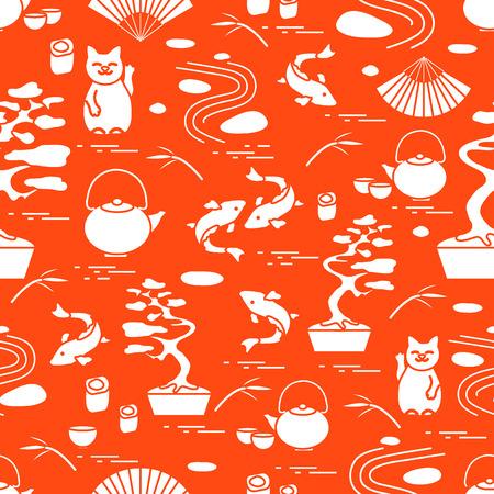 Cute vector pattern with bonsai tree, minimal rock garden, japanese lucky cat Maneki Neko, carp koi and other. Travel and leisure. Illustration
