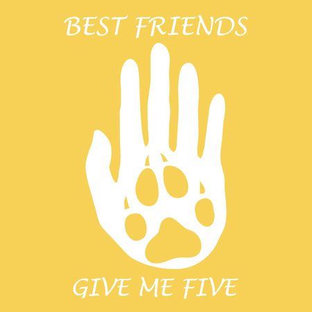 Cute vector illustration of human hand silhouette holding paw of dog. Friends forever. Give me five. Design for banner, poster or print. Illustration