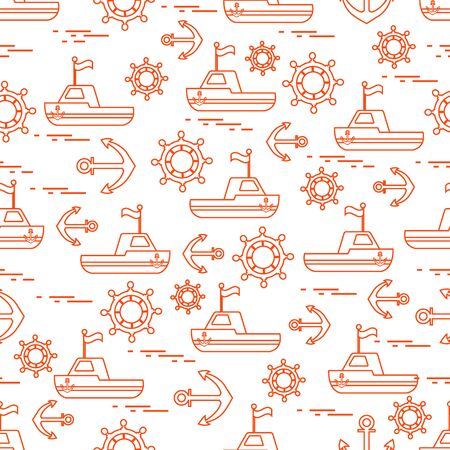 Cute seamless pattern with ships, steering wheels, anchors, flags. Marine theme. Design for poster or print.