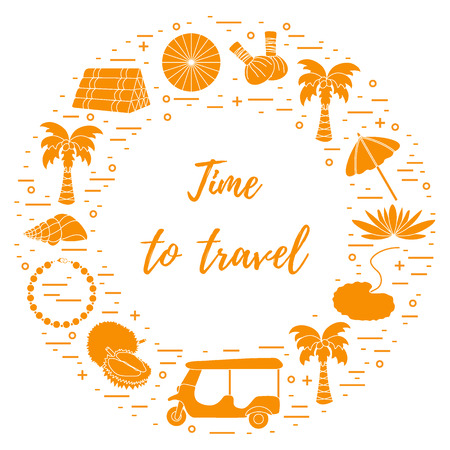 Vacation and travel elements arranged in a circle. Umbrella, shell, palm tree, lily, tuk-tuk, durian, pearl necklace, herbal pouches for massage, pillow.