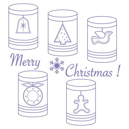 Gläser für verschiedene Produkte mit Weihnachten und Neujahr Tags:? Hristmas Baum, Glocke, Vogel,? Hristmas Kranz, Lebkuchen Mann.