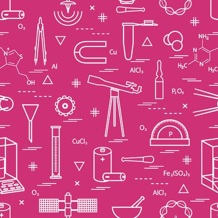 様々 な科学的な教育要素を持つシームレス パターン: 仕切り、数式、試験管、衛星、電池、その他。横断幕やポスター印刷のデザイン。