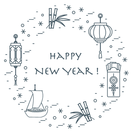 goodluck: New year symbols: japanese treasure ship, bamboo, chinese lanterns and red envelopes of money arranged in a circle. Festive traditions of different countries. Illustration