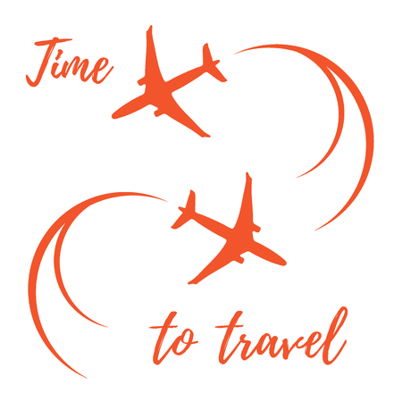 Cute illustration with planes and traces of the plane. Illustration