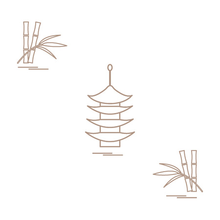 in monastery: Stylized icon of the pagoda and bamboo. Travel and leisure design for banner, poster or print.