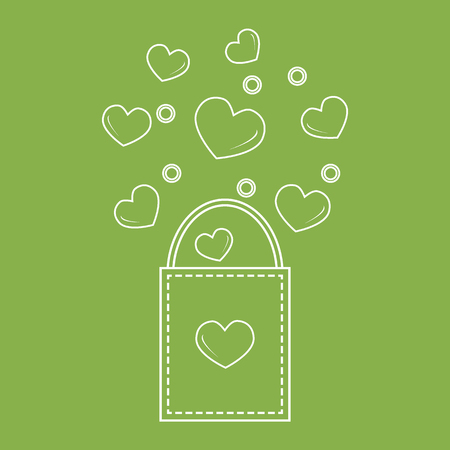 holiday shopping: Cute vector illustration of gift bag with hearts. Design for banner, flyer, poster or print. Greeting card Valentines Day.