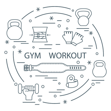 Powerlifting gym workout elements arranged in a circle. Иллюстрация