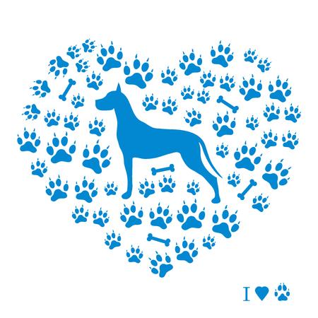 Belle image d'une silhouette de danse formidable sur un fond de pistes de chien et d'os en forme de coeur sur fond blanc. Banque d'images - 87065920