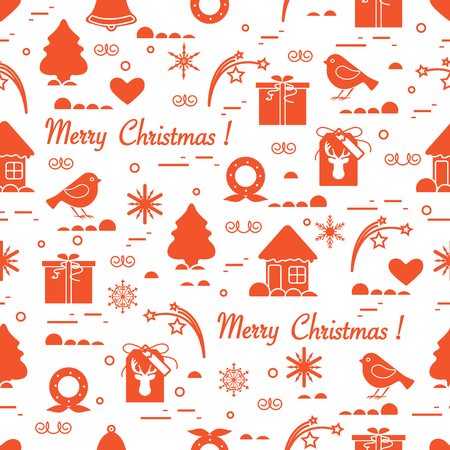 Cute pattern of different new year and christmas symbols, Winter themed, Design for postcard, banner, poster or print.