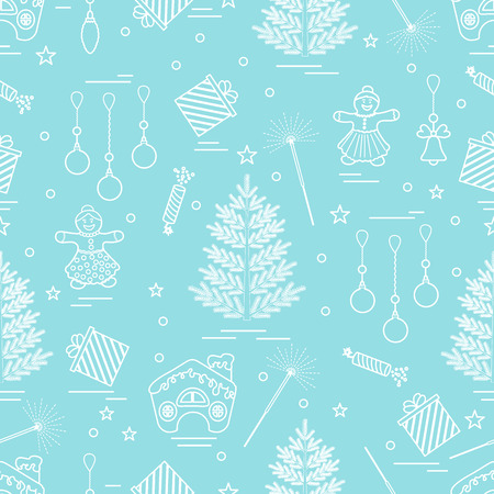 Winter pattern with variety Christmas elements:  tree, balls, petard, sparkler, gingerbread man and house, bell, gifts, stars.