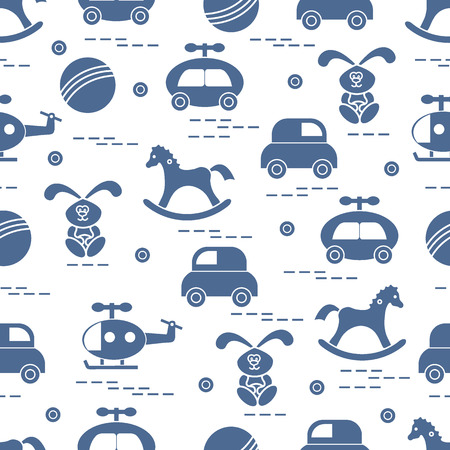 lapin: Cute pattern with variety of kids toys: rocking horse, ball, rabbit, helicopter. Design for poster or print. Illustration