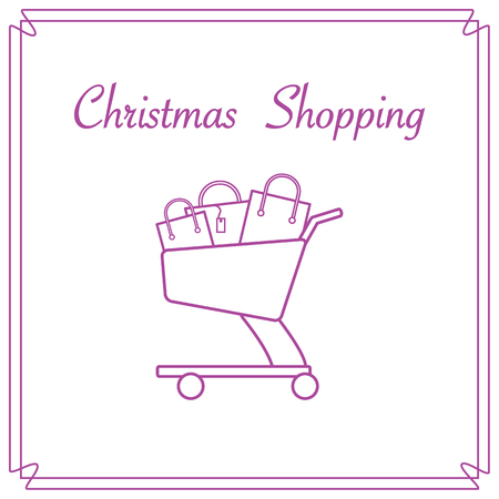 gift basket: Shopping cart with gift bags. Design for banner, poster or print.