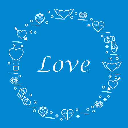 romantic date: Cute illustration with different romantic symbols arranged in a circle.
