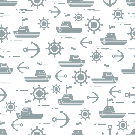 sports equipment: Cute seamless pattern with ships, steering wheels, anchors, flags. Marine theme. Design for poster or print.