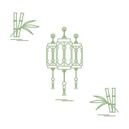lucky bamboo: Chinese lanterns and bamboo. Travel and leisure. Design for banner, poster or print. Illustration