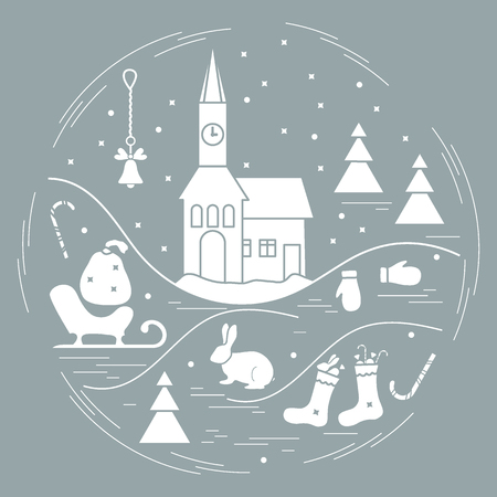 lapin: Vector illustration of different new year and christmas symbols arranged in a circle.