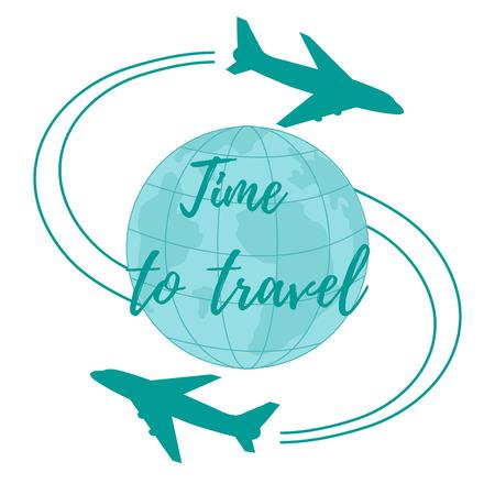Nette Vektor-Illustration von Flugzeugen fliegen rund um den Globus. Design für Poster oder Druck. Standard-Bild - 85908008