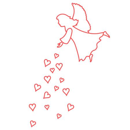 romantic date: Cute vector illustration: angel showered hearts. Love symbol. Design for banner, flyer, poster or print.