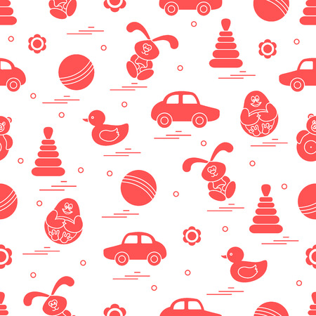 lapin: Vector pattern of different toys: car, pyramid, roly-poly, ball, hare, rattle, duck, penguin. Design element for postcard, banner, flyer, poster or print.