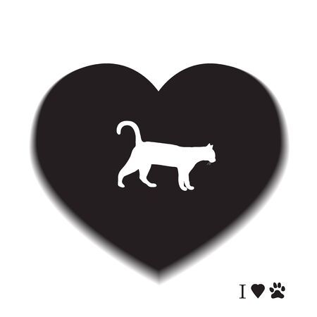 Silhouette walking cat inside the heart. Health care, vet, nutrition, exhibition. Design for banner, poster or print.