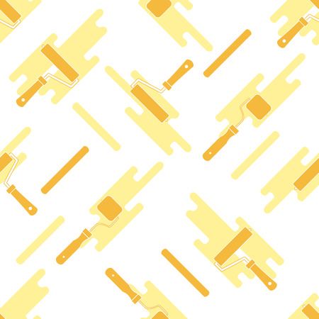 spot: Seamless pattern of rollers for paint and paint spots. Tools for repair and construction.