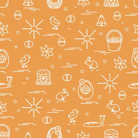 lapin: Motif sans couture mignon avec différents symboles pour Pâques. Conception pour la bannière, l'affiche ou l'impression.