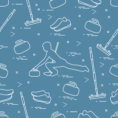 sports equipment: Vector pattern of different objects curling sport. Including: shoes, broom, stone and athlete silhouette.