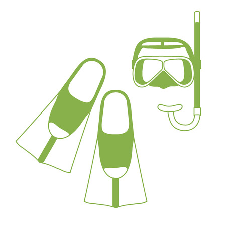 sports equipment: Stylized icon of a colored mask, tube and flippers for a scuba diving. Sports and recreation theme. Design for banner, poster or print.