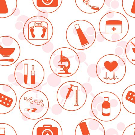 Seamless pattern of various medical devices and drugs first aid kit arranged in a circle. Health and treatment.