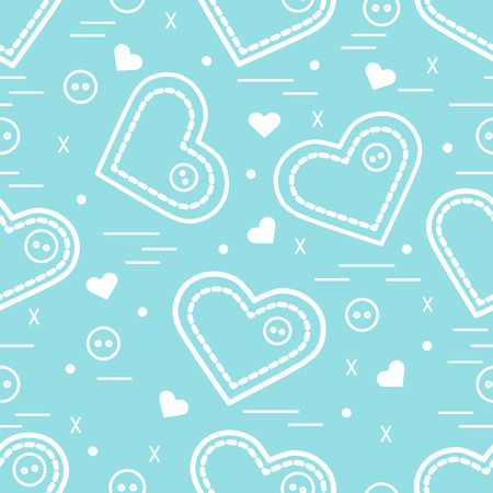 Cute pattern with needle cases and . Greeting card Valentine's Day. Design for banner, , poster or print. Illustration