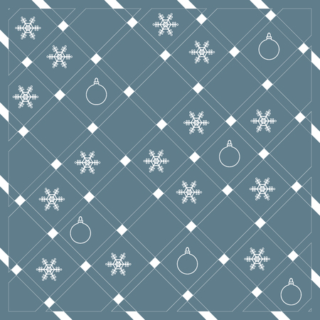 rectangle: Pattern of diagonal stripes or lines in nice colors with snowflakes and Christmas balls. Abstract grid texture. Graphic background design.