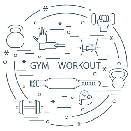 sports equipment: Powerlifting gym workout elements arranged in a circle. Template for your design, banner, poster or print.